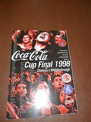 1998 Coca-Cola Cup Final Football Programme - Middlesbrough v Chelsea