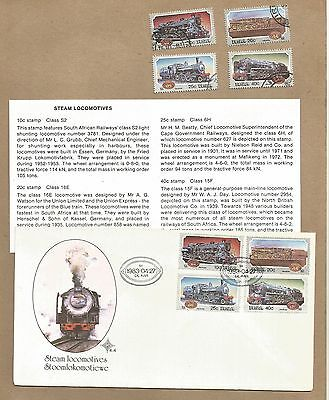 SA: Loco's. FDC with Info Card + set 4 used + Set 4 First Day P'cards.(Ref 946)