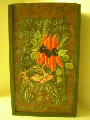 WINE BOX- 2 BOTTLE- BEAUTIFUL HAND PAINTED with sliding cover