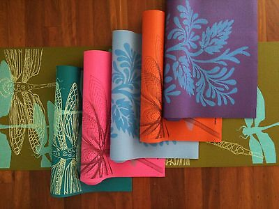 Hand Printed Yoga Pilates Exercise Training Mat With FREE Carry Bag