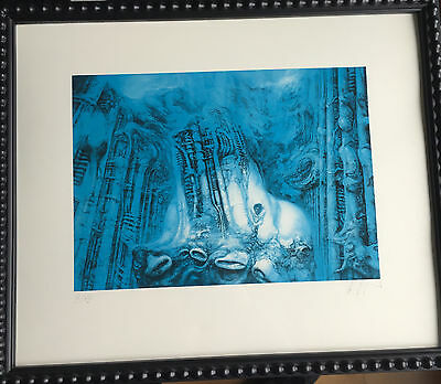 H.R. Giger original signed Lord of the Ringe blue original limited print Alien