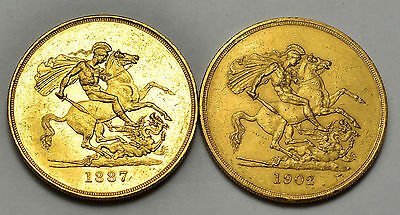 1887 & 1902 Gold Five Pounds  2 Coins  Victoria & Edward Vii  #976-979