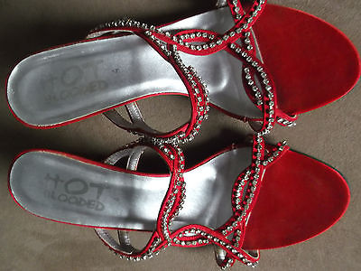 Ladies red sparkly strappy slip on evening sandals shoes heels - size 4 37