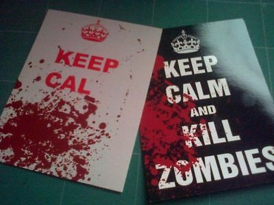 Keep Calm and Carry On postcards PAIR funny Halloween horror bloody kill zombies