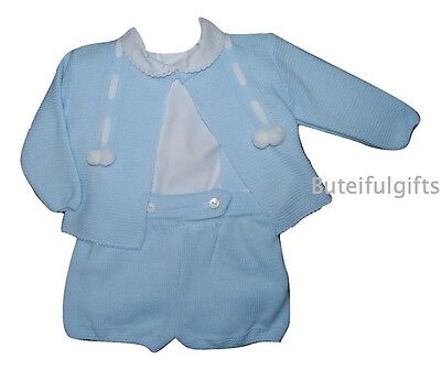 Boys Sky Blue/White Spanish 3 Piece Pom Pom Knitted Set 0-24 Month