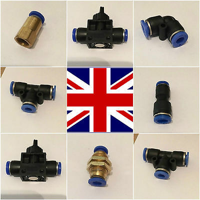 Nylon Pneumatic fittings hose tube inline push fit connector airline elbow 90 T