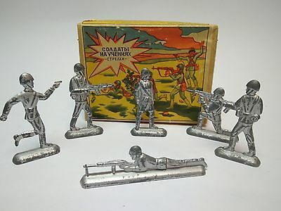 Toy Tin soldiers on military exercise USSR in box 1970s
