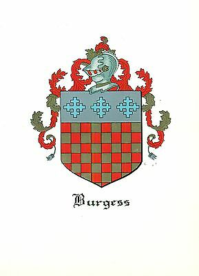 *Great Coat of Arms Burgess Family Crest genealogy, would look great framed!