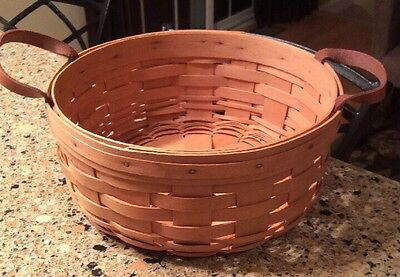"""Longaberger 1996 Round 10"""" Basket With Two Leather Handles"""