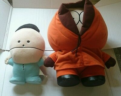 """Vintage South Park Plush Set- (Rare) 8"""" Baby Ike and 10"""" Talking Kenny. Fab"""