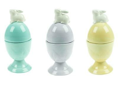 Cute Gisela Graham Ceramic Egg Cup with Bunny Lid Easter Lilac Yellow Turquoise
