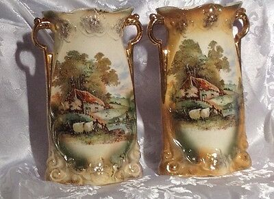 Antique MADE IN ENGLAND L & SONS LTD HANLEY ENG X 2 100 year old vases.