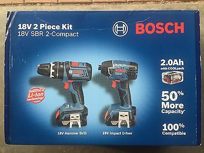 Brandnew Bosch Blue 18V Cordless Drill Kit With 2 Batteries, Charger and Case