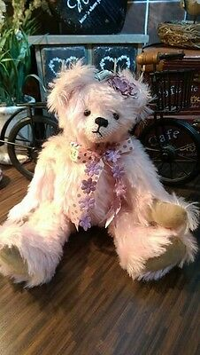Handmade Artist collectible teddy bear Pink Mohair With Flower And Bow