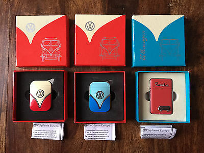 3 x Official VW Camper Van Metal Refillable Gas Lighters in Gift Boxes