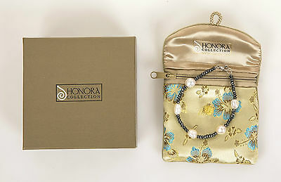 HONORA White Freshwater PEARL & HEMATITE Sterling Silver Bracelet with BOX & BAG