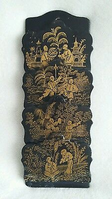 Antique Japanese Black Lacquered Wooden Slim Letter Rack Holder with Gold Pictur