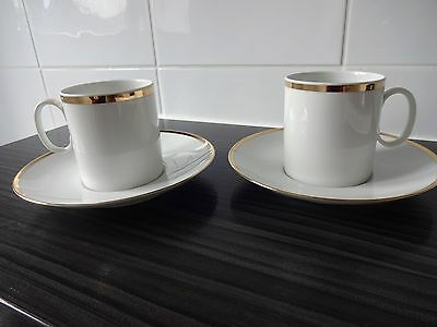 2 White Cups And Saucers  - Germany Thomas-Medaillon Thick Gold Band