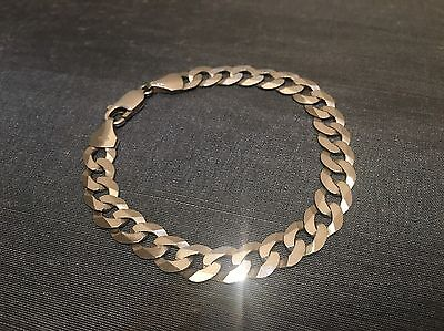 Sterling Solid Silver Mens 8mm Wide Hallmarked Flat Curb Chain Bracelet