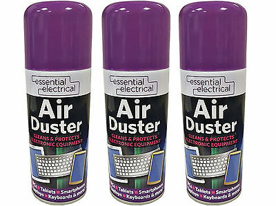 3 x Compressed Air Duster Spray Can Cleans & Protects Laptops Keyboards.. 200ml*