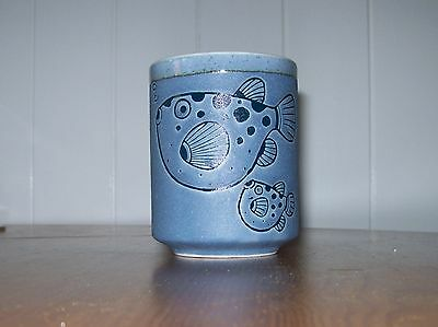 Vintage Blue Pottery Beaker with stylised Fish design-Bathroom Beaker?