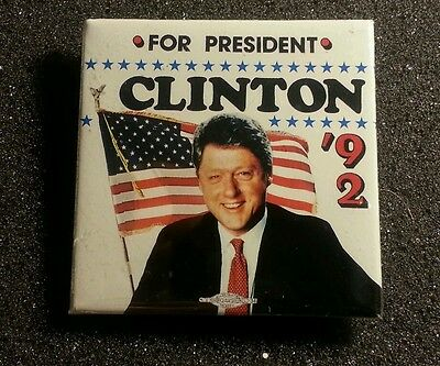 Vintage Political 1992 Clinton for President Rare Square Photo Button Toledo OH
