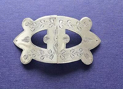 """ANTIQUE SILVER PLATED BELT BUCKLE  MEASURES APPROX 3.5"""" x 2"""""""