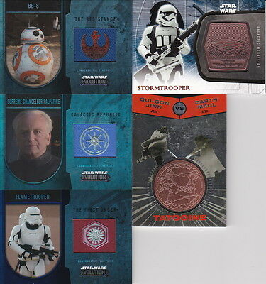 STAR WARS Card Collection/Lot: 191 Different Cards, Medallions,Flag Patch Relics
