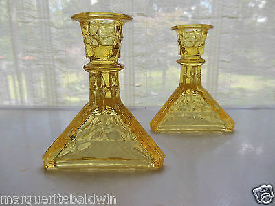 Tiara Indiana Glass 2 Yellow Mist Constellation Taper Candle Holders
