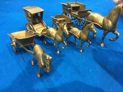 Job Lot Of Brass Horses And Carriages- Might Suit A Pub?