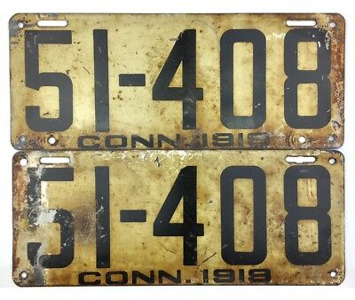 1919 Connecticut License Plate PAIR #50-792 YOM