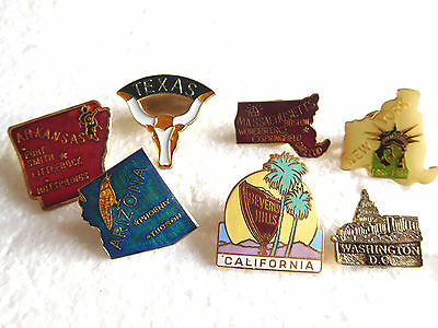 Job lot of 7 vintage USA American related metal lapel pins