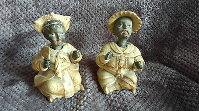 A Pair Of Antique Chinese Nodders Benko Nodding Dolls Chinese Figures Porcelain
