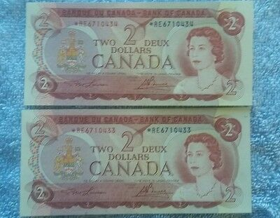 Lot Of 2 Canada 2 Dollar Replacement Notes