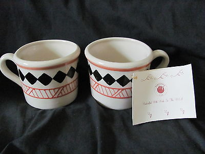 HARTSTONE POTTERY 4 pc Center Diamond-2 SALAD PLATES, 2 MUGS/CUPS-NEW w/Tag