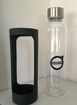 Volvo Soma Glass Drinking Water Bottle Clear Glass Silicone Sleeve