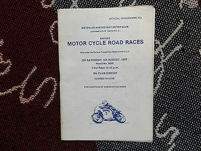 1977 Aintree Programme 6/8/77 - Motor Cycle Road Races