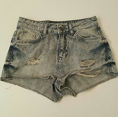 Topshop acid wash denim shorts hot pants size 6 moto hallie petite distressed