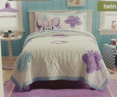 Vintage Style Shabby Butterfly Twin  Quilt Comforter + Sheet Set Lilac /  White