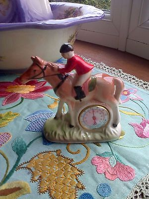 Kitsch pottery Horse and Rider made in Japan Barometer.