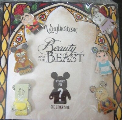 Disney's Vinylmation Beauty and the Beast Collectores Set 7 pins- New +Sealed