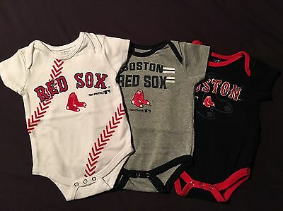 Boston Red Sox 3 Pack Infant Bodysuits, Size 6-9 Months