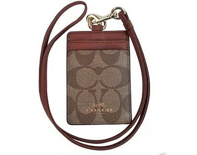 Bnwt Coach Signature Lanyard Id Card Holder Brown