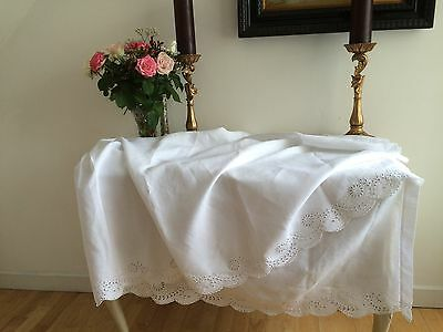 Vintage 1900s Pure Linen Dowry Bed Header Turn back Antique Lace Bedding French