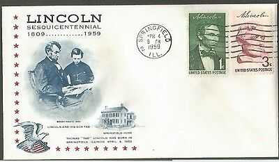 Us Cover 1959 Lincoln Sesquicentennial 1C&3C Stamps Lincolns Son Tad Born Apr 4