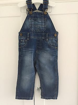 F.W. Mothercare Baby Boys Blue Denim Dungarees Age 12-18 Months