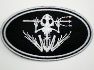 """1 pc SEAL TEAM """"SKELETON FROG W/TRIDENT"""" OVAL Emb patch iron/sew-on"""