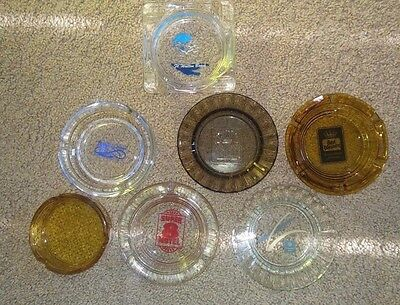 7 Vintage glass travel and hotel ash trays