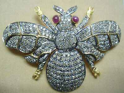 Victorian Style 925 Silver Vintage Look Rose Cut Diamond Butterful Ruby Brooch