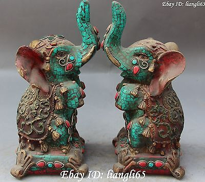 "9"" Chinese Folk Buddhist Turquoise&Red Coral Auspicious Elephant Statue Pair"